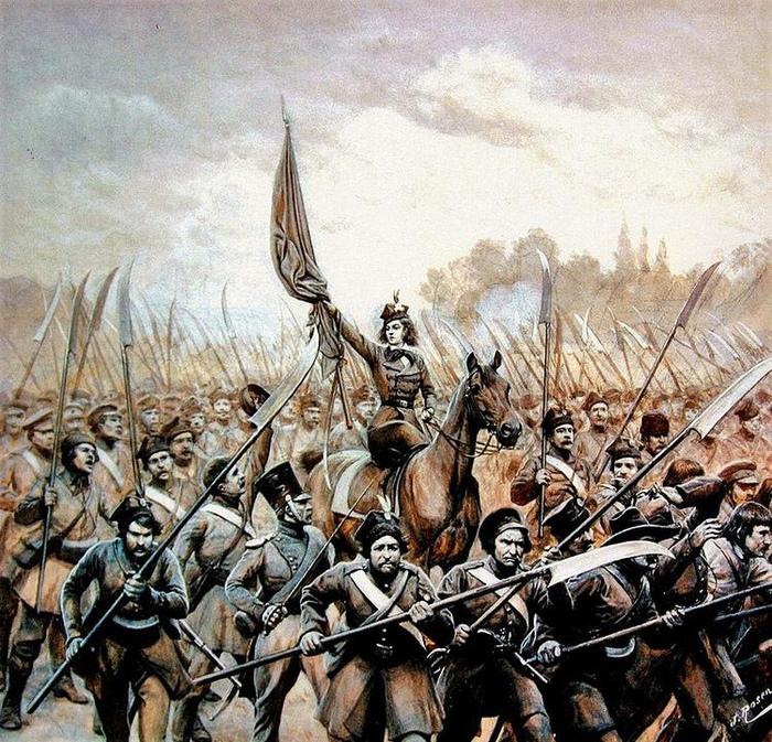 Эмилия Плятер во главе вооружённых крестьян. Картина Яна Богумила Розена.